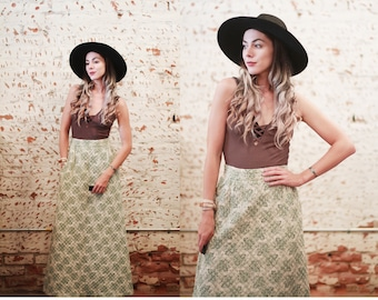 Vintage 1960s Mr.B quilted high waist maxi skirt - forest green & ivory white - floral - geometric