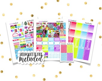 POOLSIDE Weekly Kit  // Printable Planner Stickers / Erin Condren Plum Paper Happy Planner Filofax Inkwell Press Summer Beach Vacation June