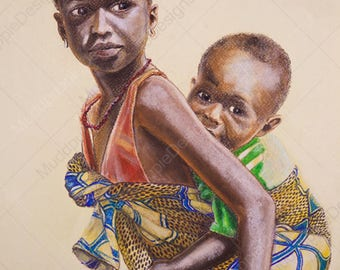 African brother and sister Chalk Pastel PORTRAIT from Photo Realistic African kid DRAWING colourful fabric piggy back baby drawing wall art