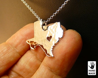 TEXAS Map Handmade Personalized Hammered Fine Silver .999 Necklace in a gift box