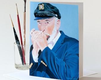 "Note Card 5 x 7"" of Original Painting ""The Harmonica Player"" Award-Winning Artist Ingrid Lockowandt Blank Greeting Card Harmonica Nautical"