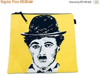 SALE 20% OFF Pop Art Charlie Chaplin Project Bag,  Makeup Bag, Gadget Bag, Pencil Case, Multi Purpose Pouch, Handmade in the UK