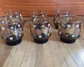 Set Of 6 Vintage Brown Floral Drinking Glasses Tumblers