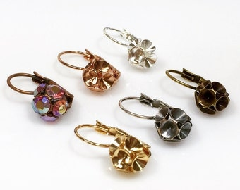 Clearance!  6pcs x Dangle earring bases For Gluing Swarovski SS19 - Choose your Color (LB20X6V)