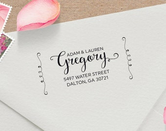 Calligraphy Address Stamp with Flourishes - Wedding Invitation Stamp - Customized Rubber Stamp -  Wedding Gift - Housewarming Gift