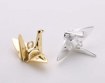 2pcs 925 Sterling Silver Origami Paper Crane Charms,Crane Charm, Personality Earring Pendant, Funny Charm,Supplies,Wish Paper Cranes 23*11mm