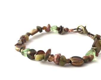 Beaded Boho Bracelet - Natural Stone Bracelet - Green Bracelet - Rustic Bracelet -  Earthy Bracelet - -Earthy By Desgin - Beaded Jewelry