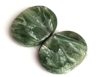 Seraphinite Oval Smooth Cabochon, Natural Seraphinite Designer Cabochon Pair, 20x17 MM, 19 Cts, Loose Gemstone Pair.