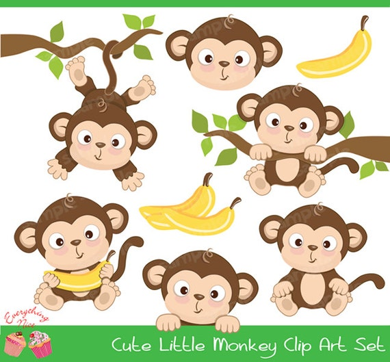 cute little monkey clipart set from 1everythingnice on etsy studio rh etsystudio com cute girl monkey clipart cute monkey clipart on transparent background