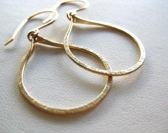 Gold Hoop Earrings, Gold Dangle Hoop Earrings, Hammered Hoop Earrings,