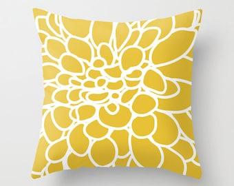 Abstract Flower Pillow  - Mustard Yellow Modern Home Decor - By Aldari Home
