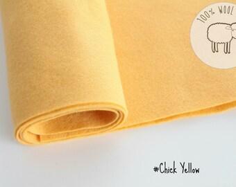 "Wool felt roll, wool felt fabric in Chick Yellow, pure wool felt band 20cm by 91cm (9"" x 36""), 1 - 1,5mm - Ships from Ireland"