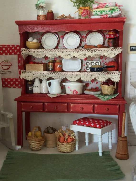 Farmhouse Style Miniature China Hutch - Vintage and New Farm and Garden Accessories