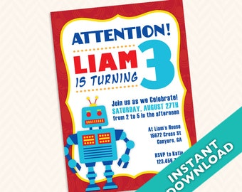 Stranger things inspired 80s birthday party invitation robot birthday party invitation design custom robot invitation design for your next childrens birthday party filmwisefo Gallery