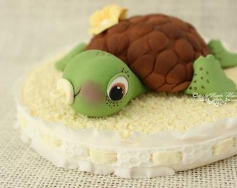 Fondant Baby Shower turtle cake topper