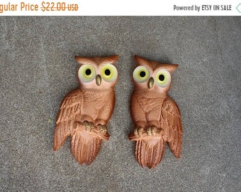 SALE SALE SALE Vintage Owls Pair Set Two Plaster Chalkware Miller Studio 1970s Brown Yellow Wall Hangings Home Decor Woodland
