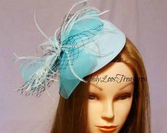 Blue Hat Fascinator, Bridal Fascinator, Wedding Fascinator, Derby Hat, Melbourne Cup, Sinamay hat, Mother of the Bride,