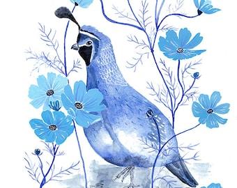 Blue quail print, mother's day gift, blue bird illustration, blue decor wall art, shades of blue, botanical bird print, monochromatic print