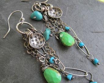 Silver earrings Turquoise Silver jewelry silver Charm Earrings Dangling Gemstone earrings wire wrapped Earrings Silver Turquoise Earrings