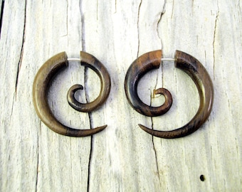 Fake Gauge Earrings Wooden Spiral Tribal Earrings - Gauges Plugs Bone Horn - FG009 W