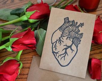 Hand Printed Anatomical Heart Blank Card
