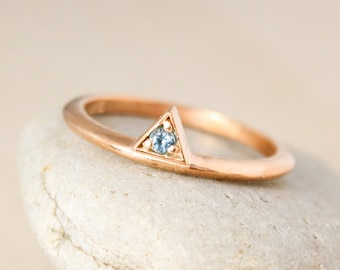 Triangle Birthstone Ring - Choose Your Birthstone - Birthstone Gifts, Stacking Ring