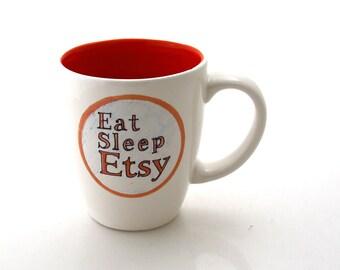 Funny Etsy Mug Orange and Grey