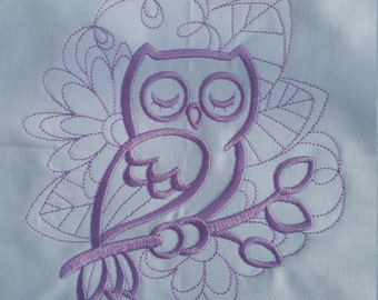 Doodle Owl machine embroidered quilt block