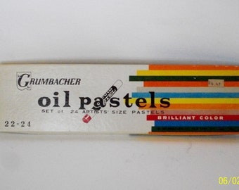 Wow! Rare Almost Pristine Vintage Grunbacher Oil Pastel Set 1970's 24 Count Really Lightly Used