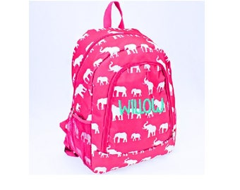 Personalized Hot Pink and White Elephant School Size Backpack Book Bag - Monogrammed  Name or Initials a1c247f124f28
