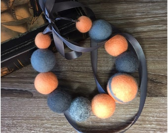 Peach and Gray Felted Ball Necklace