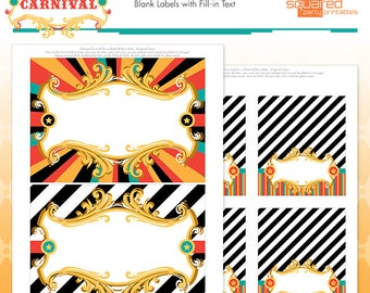Circus Candy Buffet Tags - Cirque du Bebe Printable Food Tags - Vintage Carnival Blank Labels - Big Top Circus Tent Shower Instant Download