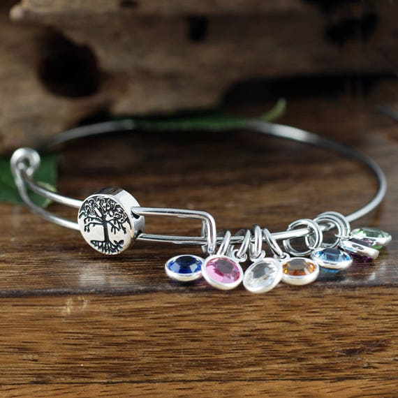 Family Tree Bangle Birthstone Bracelet, Silver Tree of Life Bangle, Stainless Steel Bangle, Family Tree Bracelet, Tree of Life Bracelet