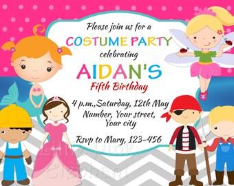 Kids Costume Party Birthday Invitation Halloween Costume