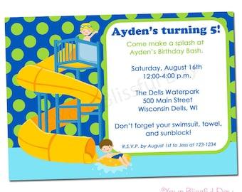 PRINTABLE Boy Waterpark Party Invitation #598