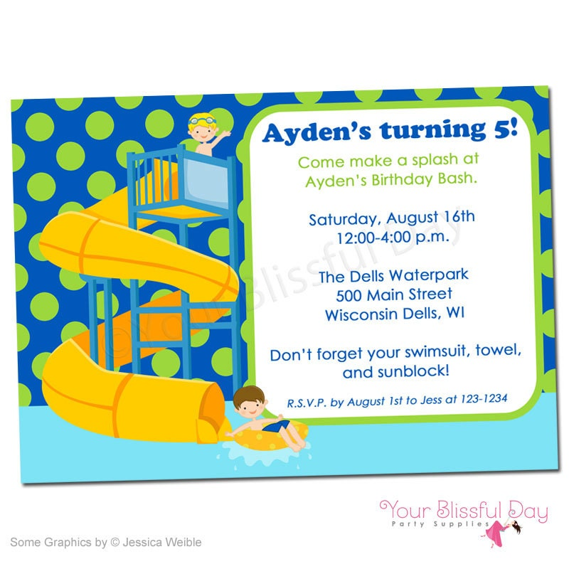Boy Waterpark Printable Party Invitation 598 Personalized
