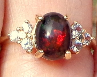 Solid 10k Yellow Gold Ring, Black Welo Opal Ring, Color Play Stone, Red, Yellow, Orange Fire,Promise Ring,Ladies,Mother's Day Gift