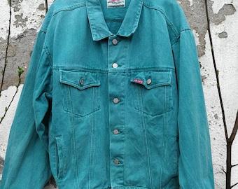 Vintage denim jacket jeans jacket oversized unisex green size L
