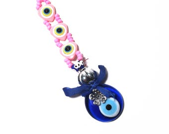 Evil Eye Keychain with Pink Hearts, Evil Eye, Evil Eye Key Chain, Hamsa Keychain,  Evil Eye Hamsa (Buy 1 Get 1 FREE & FREE SHIPPING!!!)