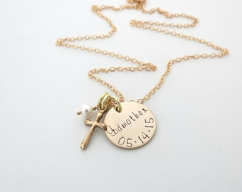 Personalized Godmother Necklace - Cross Necklace - Baptism Gift - First Communion Gift - Personalized Necklace - Personalized Jewelry - Gold