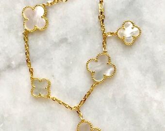 Mother of Pearl Clover Flower Motif 18K Gold plated bracelet bridesmaid wedding bride