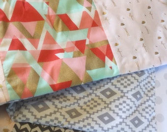One of a Kind Baby Blanket in modern Designer Fabrics