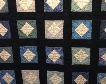 Quilt Blue and White Lap Size   46' X 60""