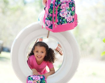 Backpack & Lunch Bag Combo Set - Posie - Includes Embroidery Personalization - Floral Backpack Combo - Back to School Combo - Back to School