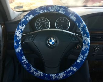 Blue and Silver Satin Damask Steering Wheel Cover