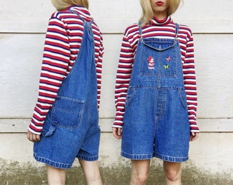 Vintage Blue Jean Mickey Mouse Butterfly Thin Strap Clip Adjustable Summer Denim Shorteralls Shorts Overalls S/M