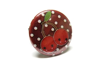 Cherry Ring Rockabilly Red Fresh Fruit Cherries Jewelry