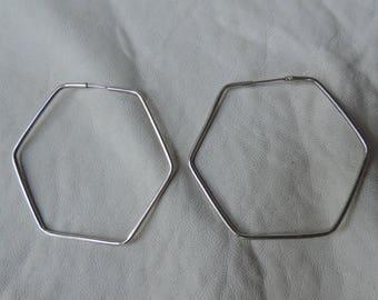 sterling hoop earrings hexagon earrings geometric
