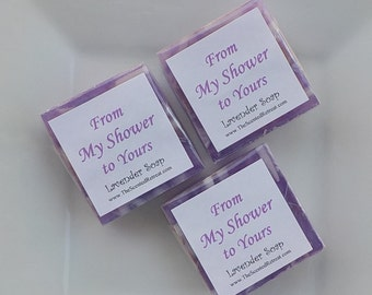 Lavender Soap Favors Bridal Shower Soap Favors Wedding Favors Baby Shower Soap Favors Square Purple Soaps From My Shower to Yours