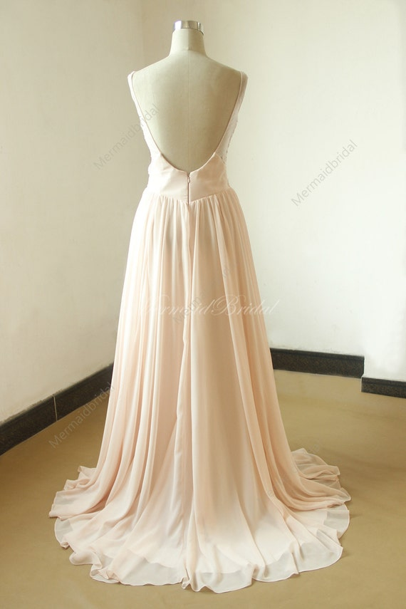 Blush Open Back Chiffon Lace Destination Beach Wedding Dress - Blush Beach Wedding Dress